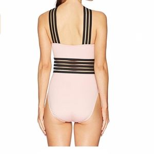 High Neck Cross Front Banded One Piece Swimsuit